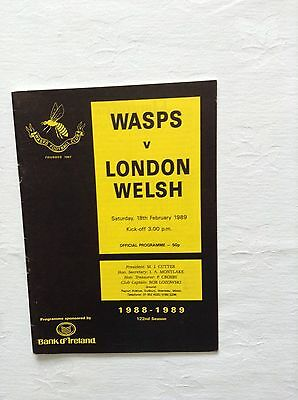 wasps v london welshugby union programme 18th february 1989