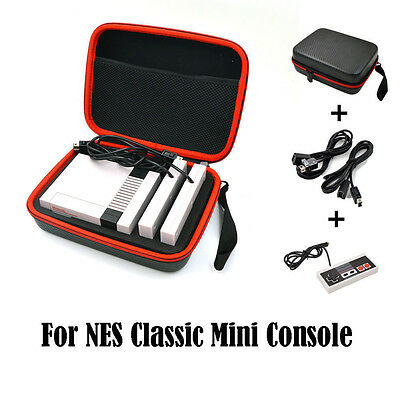 2x Extension Cables Controller Case Bag for Nintendo NES Classic Mini Console *