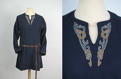 wool tunic with embroidery for viking reenactment