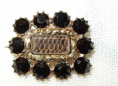 Antique Victorian Jet Oblong Mourning Brooch  with intricately woven  har (G)