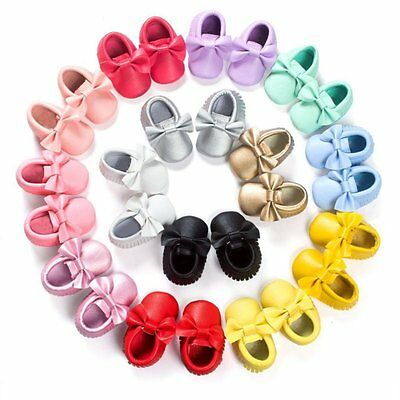 AU 0-18M Toddler Newborn Baby Shoes Kids Soft Sole Moccasin Tassel Leather Shoes