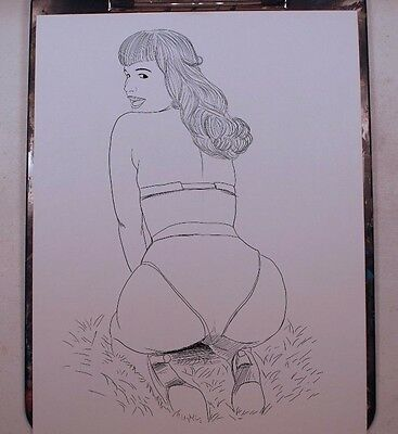 BETTIE PAGE INK DRAWING 8.5x11 ORIGINAL COMIC ART PRINT by Key