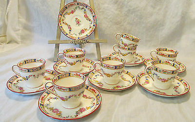 Minton England MINTON ROSE 8 Demitasse Cups Saucers A4807 Globe Stamp REDUCED