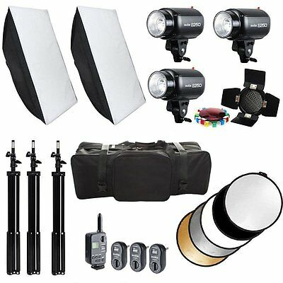 3PCS Godox E250 750W Studio Flash Strobe Light with Softbox Stand Trigger Kit