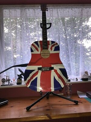 Union Jack Acoustic Guitar with Stand NEW