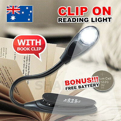 Portable Travel Flexible Neck LED Clamp Clip-On Reading Book Light Lamp