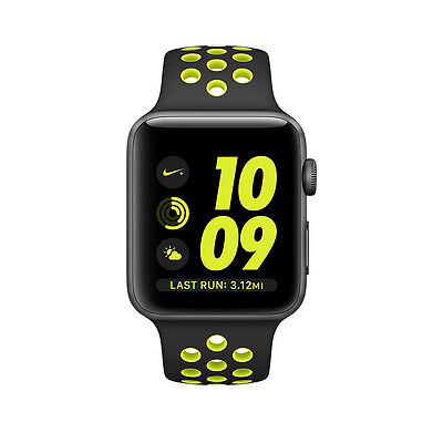 Apple Watch Nike+ 42mm Space Grey Aluminium Case with Black/Volt Sport Band - (…