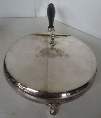 Vintage Oreida Footed Cigarette Butler Silver Plated Wood Shield Crumb