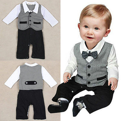 AU Newborn Baby Kid Boy Gentleman Formal Suit Romper Pants Jumpsuit Outfit 0-18M