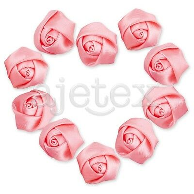 10pcs Satin Ribbon Flower Rosebuds Craft Wedding Appliques Favor Peach Pink OBS