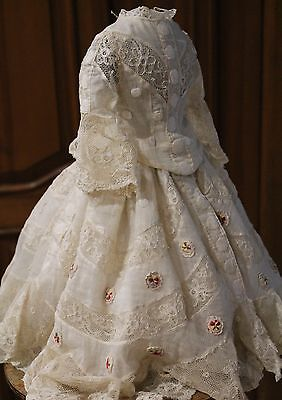 Antique/Vintage French fashion muslin dress for doll