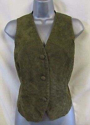 C&A New Fast Vintage Waistcoat Sz 12 6 Moss Green Suede Buttons Smart Event