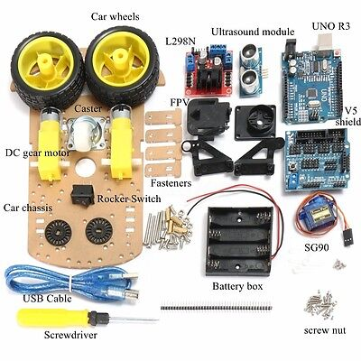 AU Tracking Motor Robot Car Chassis Kit 2WD R3 Ultrasonic For L298N Arduino MCU