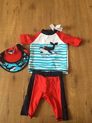 Marks And Spencer Baby Boy Swim Suit / Hat 3-6