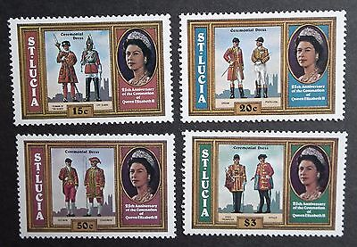 St Lucia (1978) Silver Coronation / Military Uniforms Ceremony - Mint (MNH)