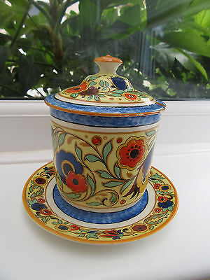 English Brightly Decorated Preserve Pot and Lid