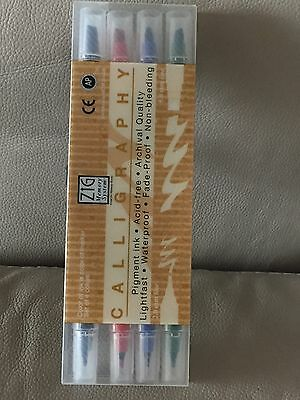 Zig Memory System Calligraphy Set Of 4 Colour Markers MS-3400 / 4V