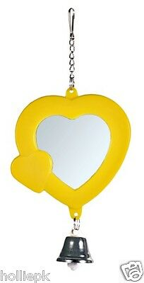 Heart Shaped Bird Budgie Canary Finich Mirror Toy+ Chain + Bell Hooks On Cage