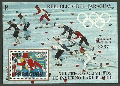 Paraguay 1980 Olympics Lake Placid Cross Country Skiing M/sheet Mnh