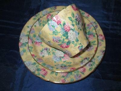 Lovely Shelley Summer Glory Floral Chintz #13455 Cambridge Shape Tea Trio c1937
