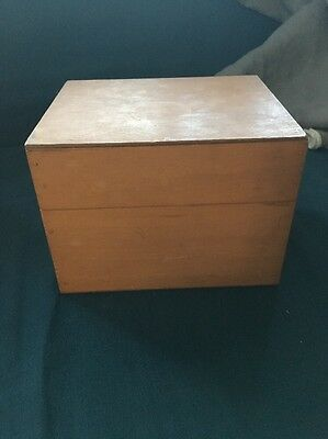 Vintage Wooden Card Filing, Library, Catalog Box With Alpha Guide Cards
