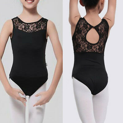 Black Leotard Lace Open Back Ballet Dance Bodysuit Dancewear Gymnastics 8-15 Y