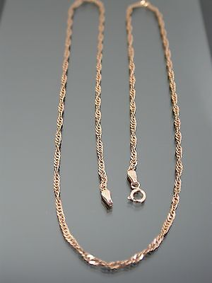 VINTAGE 9ct ROSE GOLD TWISTED CURB LINK NECKLACE CHAIN 20 inch C.1980