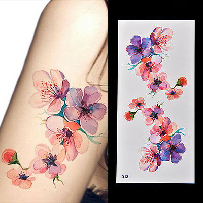 Waterproof Temporary Fake Tattoo Sticker Watercolor Orchid Arm DIY Decal E4z