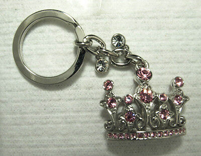 """new"" Shiny 4"" Rhinestone Pink Crystal Crown Key Chain Charm Zipper Pull Ring"