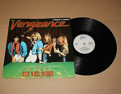 "Vengeance - Rock 'n' Roll Shower, 12"" vinyl single UK 1987 (651149 6) Ex- Rock"