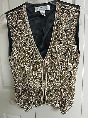Vtg NITELINE Roufogali SILK Gold Beaded Bling Pearl Top Black Vest Small Wedding