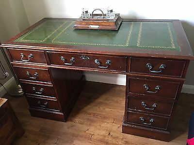 Mahogany Green Leather Top Desk