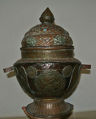 "17"" Old Tibetan Buddhist Copper and Silver inlay Crock Kettle Vessel Rare"