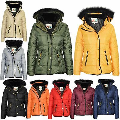 Girls Jacket Kids Padded Puffer Bubble Faux Fur Collar Quilted Warm Coats 3-13Y