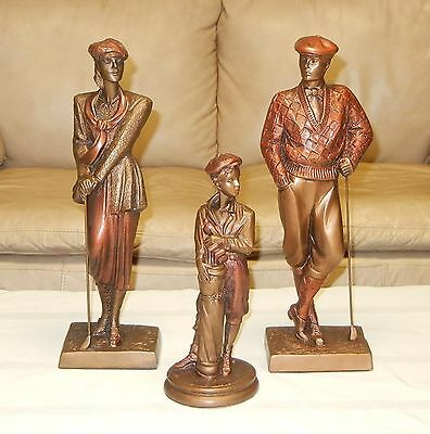 "Set Of 3 Austin Golfer Sculptures Signed - ""plus Fours"", ""birdie"", ""caddy"""