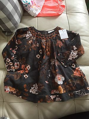 NEXT Baby Girl Dress Smock Top 9-12 Months Brown Leaves Floral
