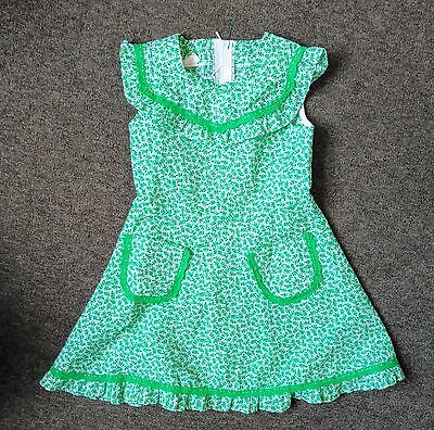 Girls vintage 70s dress summer green flowers age 3-4