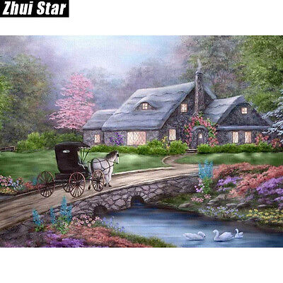 BRIDGE COTTAGE DIAMOND PAINTING KIT 5D CROSS STITCH MOSAICS 30x20CM