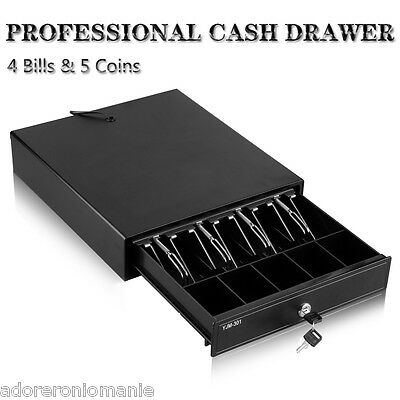 New Heavy Duty Electronic Cash Drawer Cash Register POS 4 Bills 5 Coins Tray NEW