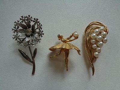 Lot Of 3 Vintage Brooches Pins Silvertone Goldtone Unsigned Ballerina Flower