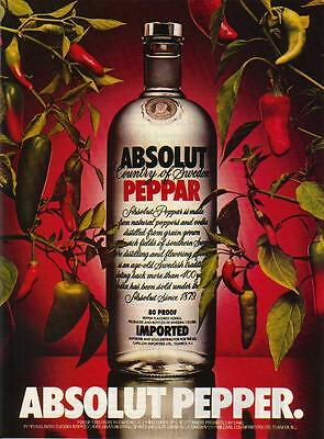 "ABSOLUT PEPPER Vodka Magazine Ad w/ an ""E"""