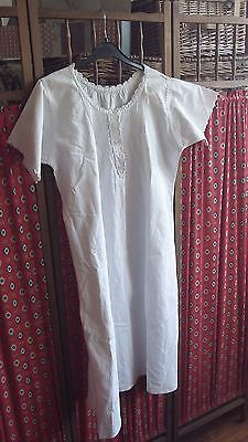 French Antique Vintage Night Dress Robe tunic pretty Pleated front & Initials