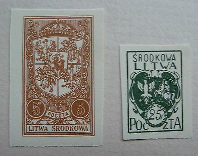 2 stamps of Central Lithuania 1921. Mint.