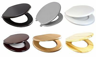 New Mdf Wooden Toilet/bathroom Seat+Fittings Adjustable Chrome Hinges Soft Close