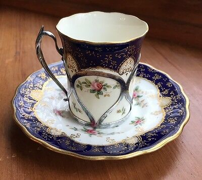 Antique Coalport Demitasse Cup & Saucer Cobalt Gold Sterling Holder