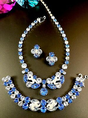 Stunning Eisenberg Sapphire Crystal Rhinestone Necklace Bracelet Earrings Set