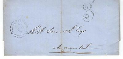 1854 Toronto Stampless Folded Letter SFL to Newmarket, U.C. Rated 3
