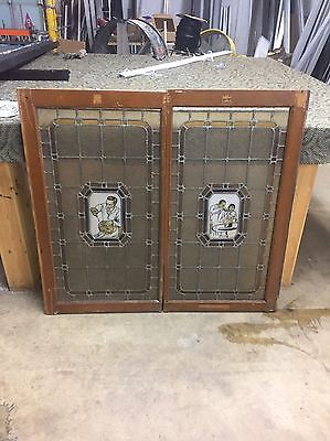 Pair Incredible Barber Shop Stained Glass Windows Doors Pole 1920's