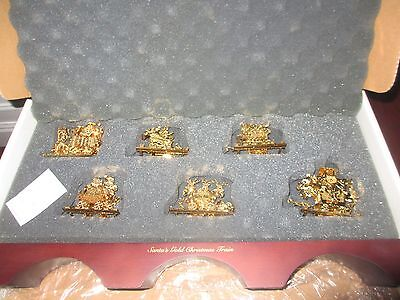 DANBURY MINT Santa's Gold Christmas Train Set with BOX and STAND