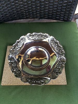 "VTG Silver Plated Candy Dish Bowl  7"" Dia x 4"" High Flower Engraved Pedestal"